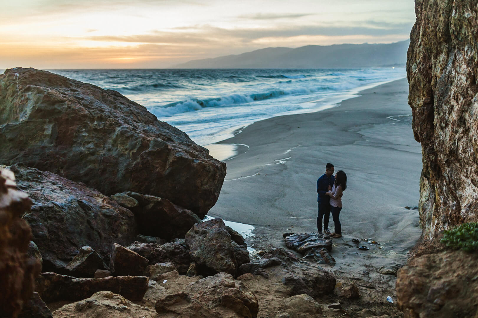 A Fun Golden Hour Engagement Shoot Climbing Rocks And Exploring At Point Dume Zuma Beach In Malibu